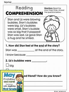 may printables first grade literacy and math kinder reading comprehension first grade