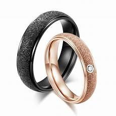black wedding rings pairs men rose gold color