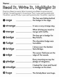 spelling worksheets dge and ge 22357 read it write it and highlight it ge dge words phonics spelling 3rd grade
