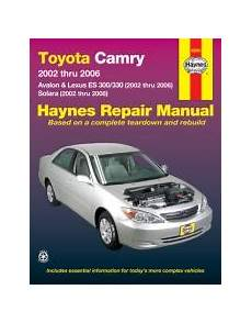 manual repair free 2002 toyota avalon parental controls 2002 2006 toyota camry avalon es300 330 02 08 solara haynes manual