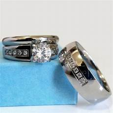 wedding ring his and hers match bands mens womens engagement stainless steel ebay