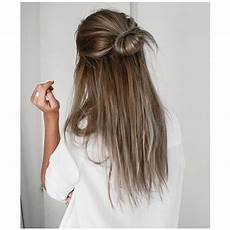 half updo bun straight hairstyles for prom liked