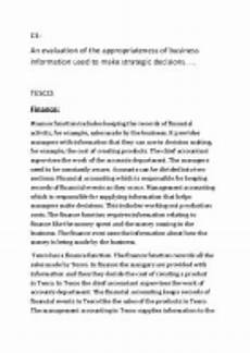 an evaluation of the business information used to make strategic decisions at tescos a level