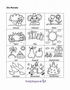 Malvorlagen Jahreszeiten Lernen Monate Teddylingua