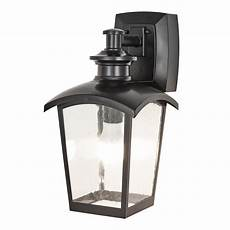 home luminaire 1 light black outdoor wall coach light sconce with seeded glass and built in gfci