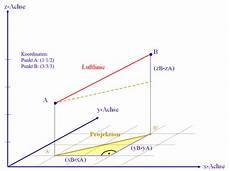 berechnungen mit dreidimensionalen koordinaten