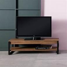 meuble tv bois m 233 tal noir avec sous plateau tantor