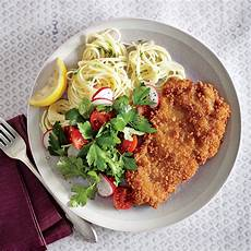 crispy chicken cutlets with butter chive pasta recipe myrecipes