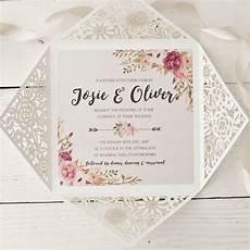 peony floral design laser cut wedding invitation by peach