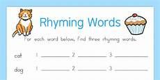 free rhyming words worksheet rhyme rhyming
