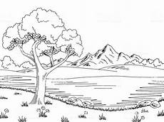 Ausmalbilder Sommer Berge Ausmalbilder Natur Landschaft Wald Berge Meer Insel