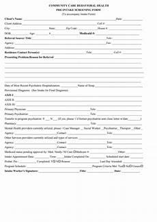 community care behavioral health pre intake form printable pdf download