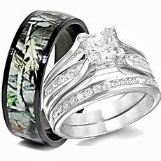 his titanium camo hers sterling silver wedding rings