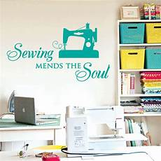 sewing mends the soul saying vinyl wall decals quote