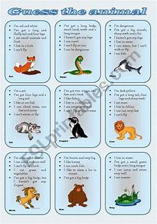 describe animals worksheets 13839 speaking cards describe and guess the animal two tasks three pages fully editable