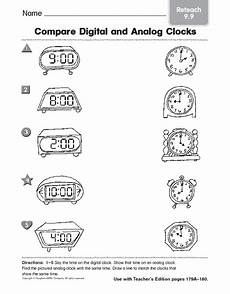 time worksheets matching digital to analog 3088 compare digital an analog clocks reteach 9 9 worksheet for 1st 3rd grade lesson planet