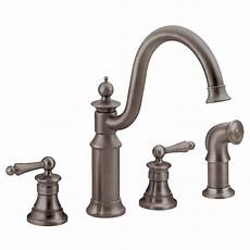 moen 2 handle kitchen faucet moen waterhill high arc 2 handle standard kitchen faucet with side sprayer in rubbed bronze