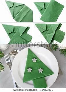Papierservietten Falten Weihnachten - tree napkin folding napkins