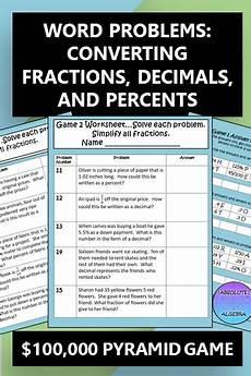decimals worksheets for highschool students 7163 fractions decimals percents word problems 100 000 pyramid activity word problems fraction