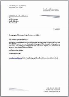 schreiben kündigung wohnung k 252 ndigung mietvertrag vorlage muster k 252 ndigungsschreiben