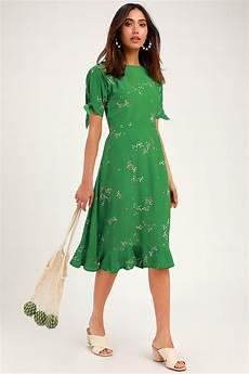 Faithfull The Brand Emilia Midi Dress Green Floral Print