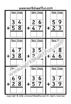 addition worksheet for grade 1 with carryover 9412 2 digit addition with regrouping carrying 5 worksheets regrouping subtraction math