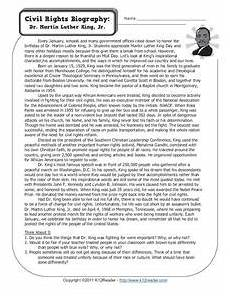 civil rights biography dr martin luther king jr worksheet for 3rd 6th grade lesson planet