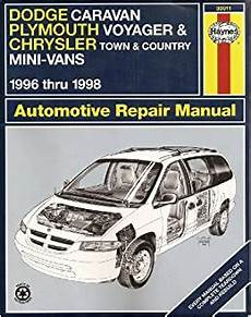 automotive repair manual 2002 chrysler town country parking system dodge caravan plymouth voyager chrysler town country mini vans 1996 thru 1998 haynes