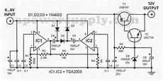 12 to 6 volt diagram tda2003 6v to 12v voltage converter