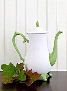 how to chalk paint metal like this upcycled silver teapot