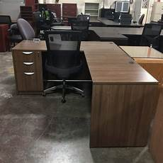 walnut home office furniture modern walnut l desk with one full set of drawers 550