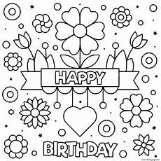 happy birthday flowers coloring pages printable