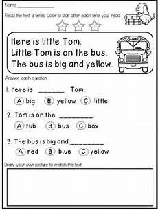 free kindergarten reading fluency and comprehension passages tpt