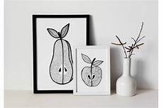 apple and pear printable fruits monochrome print by