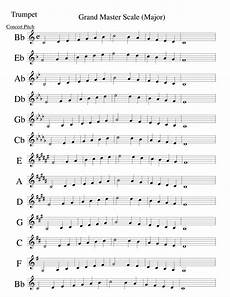 trumpet scales sheet trumpet major scales in concert finale 2000b trumpet major scales mus music pinterest