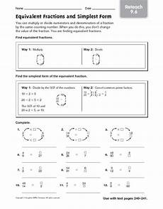 equivalent fractions and simplest form reteach 9 6