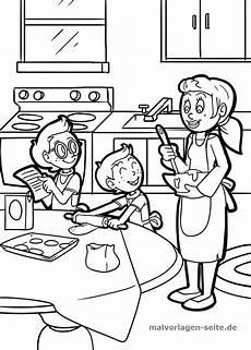 malvorlage kochen essen familie