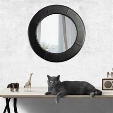 schwarzer spiegel ein wunderbarer spiegel mit rahmen aus echtem leder rund