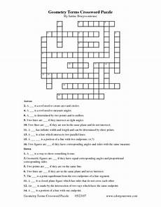 geometry terms crossword puzzle worksheet for 9th 10th grade lesson planet