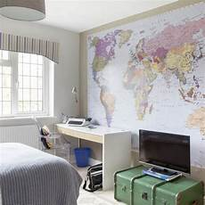Wallpaper Boy Bedroom Ideas Pictures by Boy S Room With Map Mural Boys Bedroom Ideas And