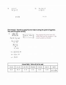 algebra worksheets systems of equations 8578 algebra i solving systems of equations with substitution worksheet free