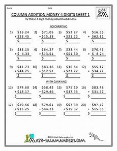 math worksheets printable column addition money 4 digits 1