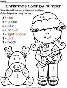 free christmas color by number addition subtraction