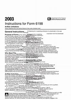 instructions for form 6198 at risk limitations 2003