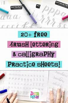 20 free brush lettering practice sheets dawn