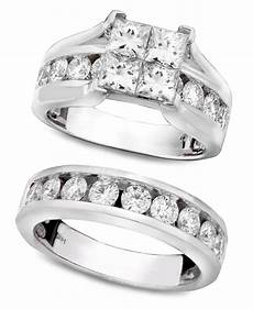 macys wedding rings lyst macy s engagement ring and wedding band 14k white gold and diamond bridal 3 ct t w