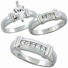 buy sterling silver cubic zirconia trio engagement wedding ring set for him and her 6 5 mm