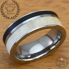 solid antler and brushed black onyx tungsten carbide men s
