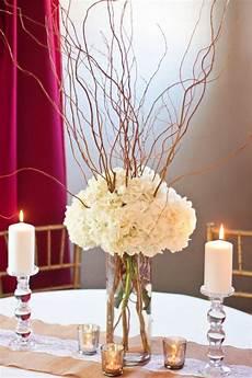curly willow and hydrangea centerpiece diy wedding