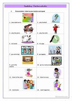 free time activities worksheet free esl printable